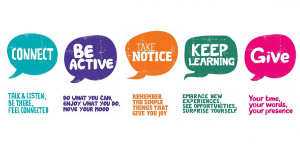 banner showing 5 tips to wellbeing