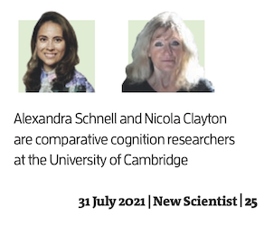 photo of Alexandra Schnell and Nicola Clayton. They are comparative cognition researchers at the University of Cambridge