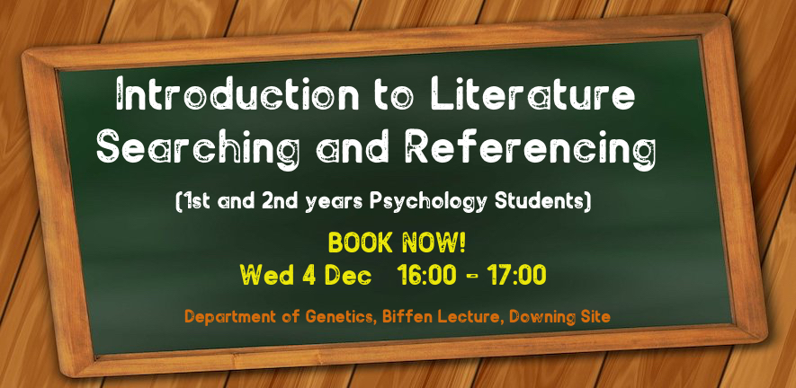 intro to literature searching for 1st and 2nd years. book now