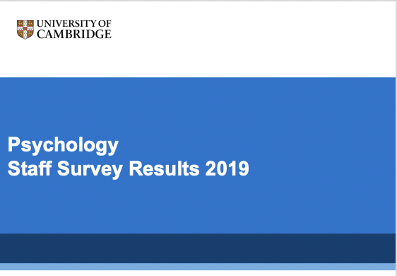 "blue background with university logo and writing ""Psychology Staff Survey Feedback, 2019"""