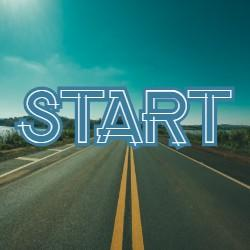 """road with the word """"start"""""""