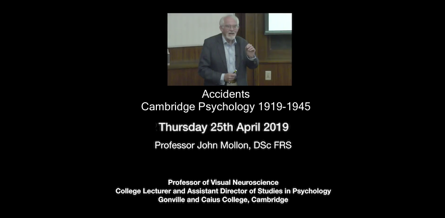 "photo of Prof J. Mollon during talk ""Accidents: Cambridge Psychology 1919-1945"""