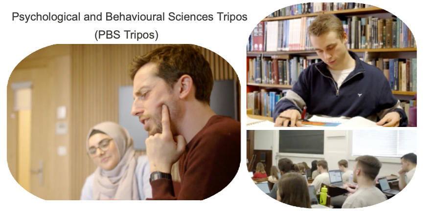 Psychological and Behavioural Sciences Tripos and photos of students studying