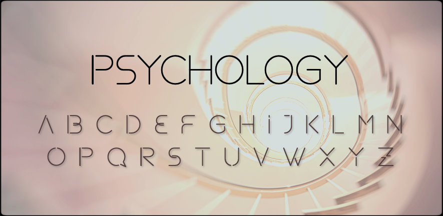 spiral staircase picture with Psychology and the alphabet written