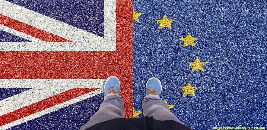 half of the UK flag and half European Union flag