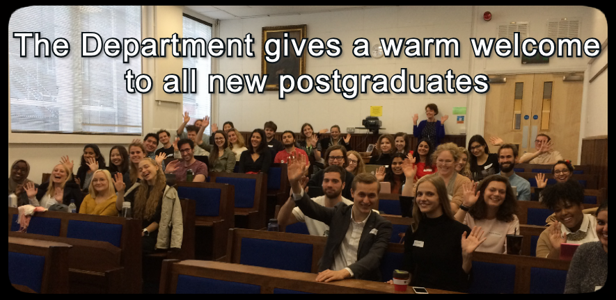 An image of new graduates with accompanying text: the department gives a warm welcome to all new graduates