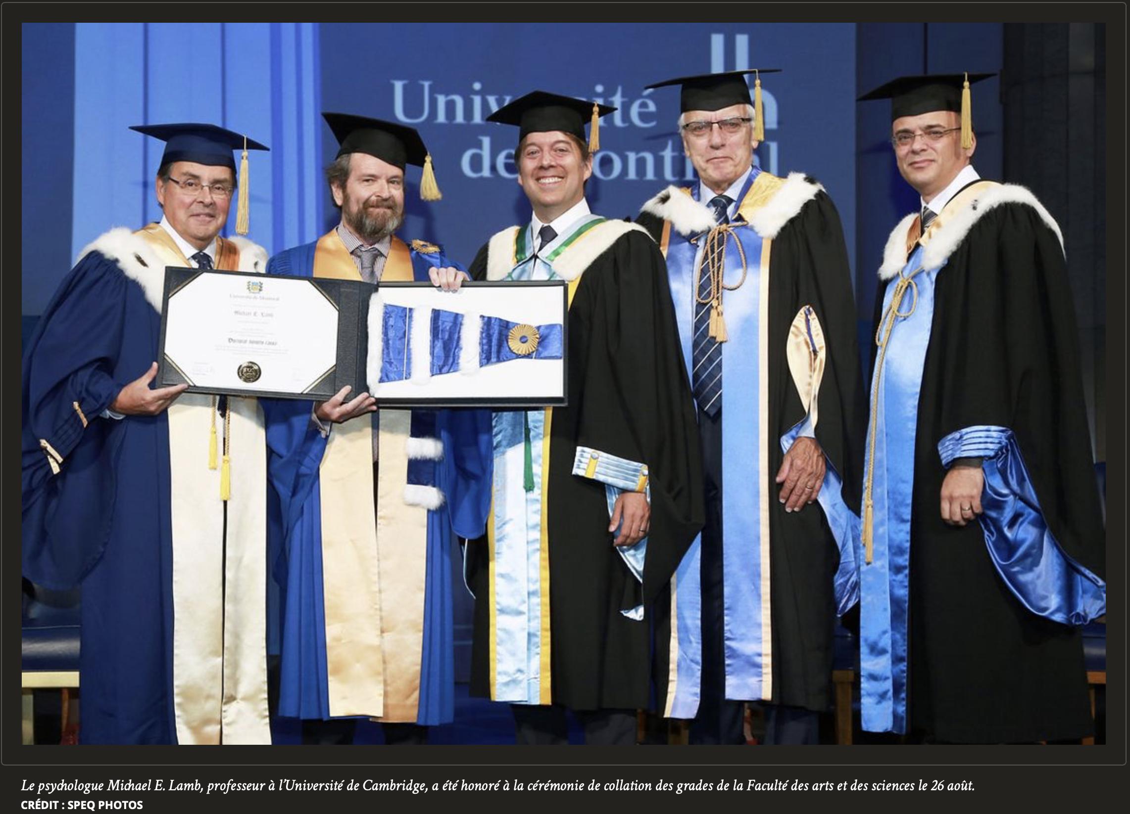 Le psychologue Michael E. Lamb, professeur à l'Université de Cambridge, a été honoré à la cérémonie de collation des grades de la Faculté des arts et des sciences le 26 août. CRÉDIT : SPEQ PHOTO